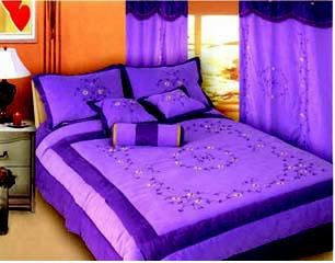 8pc High Quality Queen Faux Silk and Flocking Printing Purple / Black Zebra Comforter Set Bedding in a Bag.