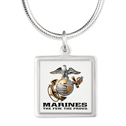 Silver Square Necklace Marines The Few The Proud