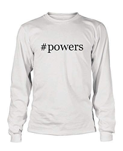 #powers - Hashtag Men's Adult Long Sleeve T-Shirt , White, Small