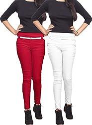 Xarans Stylish Red & White Combo Cotton Lycra Zip Jegging Set of 2 Pcs