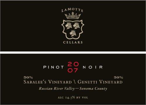 2007 Lamotte Cellars Pinot Noir Saralee'S Vineyard / Genetti Vineyard Russian River Valley Sonoma County 750 Ml