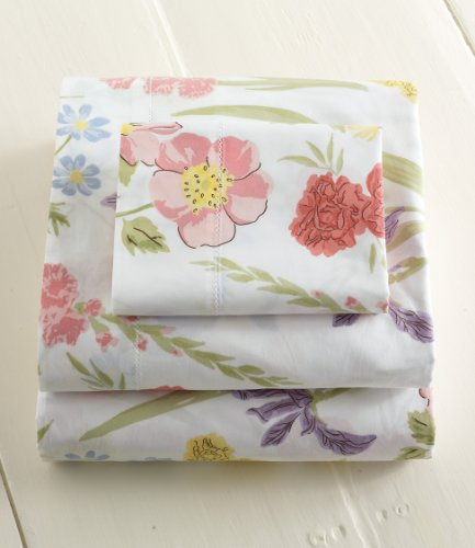 L L Bean Pima Percale 280tc Floral Sheets Flat Queen Percale