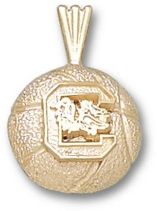 South Carolina Gamecocks C Basketball Pendant - 14KT Gold Jewelry by Logo Art