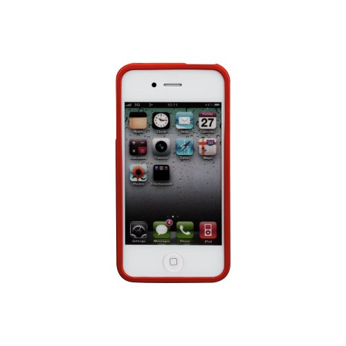 Goospery Color Pearl Jelly Case TPU Cover for iPhone 4 4S By Mercury (Red)