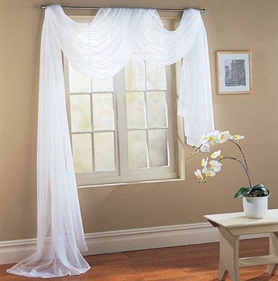 "Uphome 1pc Elegant Solid Pattern Window Voile Scraft Valance - Sheer Window Curtain 60""W x 216""L,White"