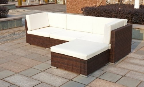 polyrattan lounge set copa braun eckcouch terrasse g nstig. Black Bedroom Furniture Sets. Home Design Ideas
