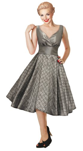 1950s 60s Silver Vintage Evening Swing Dress Rockabilly Prom