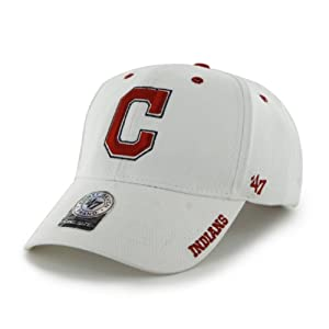 MLB Cleveland Indians 47 Brand Adjustable Frost MVP Hat, White, One Size by