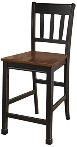 Ashley Furniture Signature Design Owingsville Barstool, Black-Brown, Set of 2 (Black Wood Bar Stools compare prices)