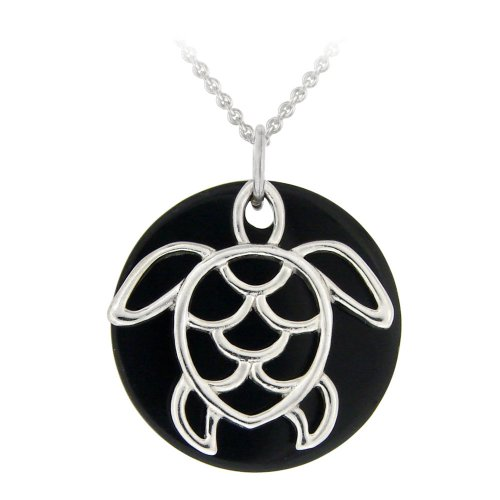 Sterling Silver Onyx Disc and Turtle Pendant Necklace , 18