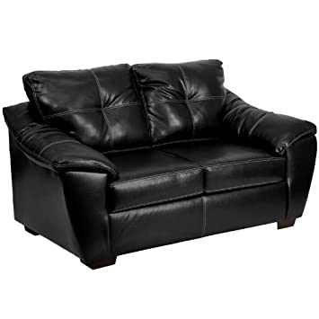 1250 Thomas Black Bonded Leather Loveseat