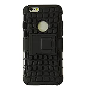 Exian Shockproof Cell Phone Case for iPhone 6 Plus - Retail Packaging - Black