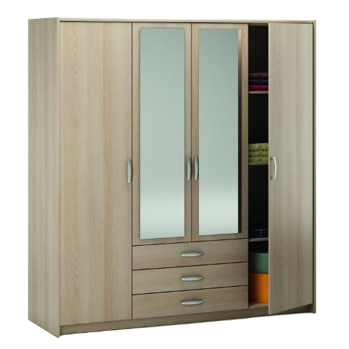 New York 4 Door 3 Drawer Wardrobe - Large Wardrobe with Drawers - Four Door Wardrobe with Mirror - Two Long Mirrors - Blonde Oak Finish