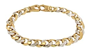 Unisex 9ct Yellow Gold 85 Inch Diamond Curb Bracelet
