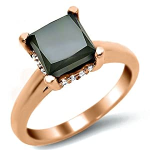 1.91ct Black Princess Cut Diamond Engagement Ring 14K Rose Gold