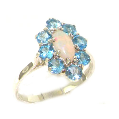 Luxury Ladies Solid White Gold Natural Opal & Blue Topaz Marquise Cluster Ring - Size 9.25 - Finger Sizes 5 to 12 Available