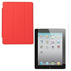 DMG Ultra Slim Magnetic Smart Shell Stand Cover Case for Apple iPad 2/3/4 (Red) + Tempered Glass Screen Protector