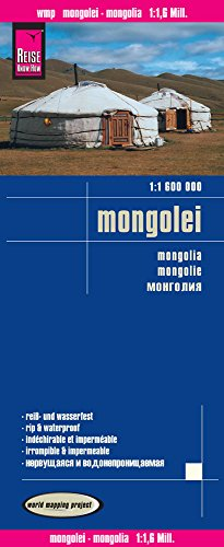 Mongolia, mapa impermeable de carreteras. Escala 1:1.600.000 impermeable. Reise Know-How.
