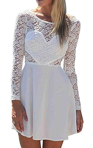 Zlmds Women'S Long Sleeves Bodycon Party Bowknot Lace Backless Mini Dresse White