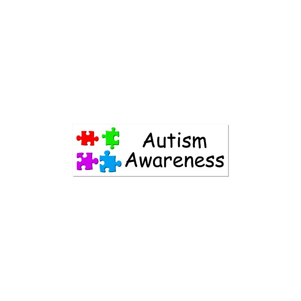 Autism Awareness Puzzle Piece White Bumper Sticker Decal