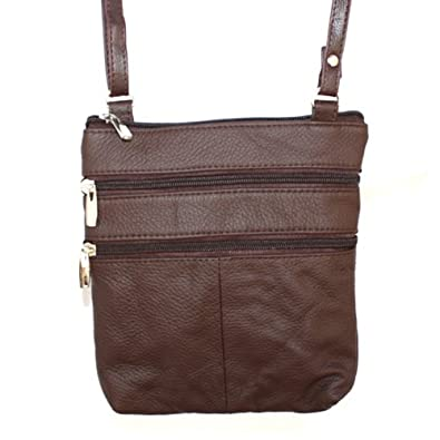 Genuine Leather Small Shoulder Cross Body Travel Purse Bag By Silver Fever® (Dark Brown)