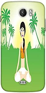 Snoogg Female Doing Yoga On Green Invirement Designer Protective Back Case Cover For Micromax A110