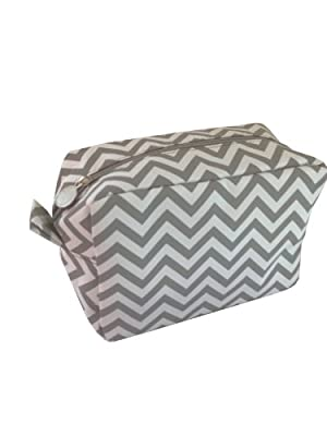 Chevron Make-Up Cosmetic Tote Bag Carry Case Gray and White Design