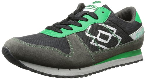 Lotto Sport RECORD III Trainers Mens Black Schwarz (BLK/GREEN FLAG) Size: 10 (44 EU)