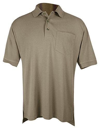 Tri-Mountain Mens 60/40 Pique Pocketed Golf Shirt. 106 - Khaki_5Xl front-654328