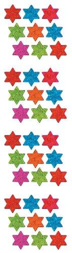 Jillson Roberts Prismatic Stickers, Judaic, Micro Stars of David, Solid Jewel Tones, 12-Sheet Count (S7528)