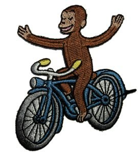 Curious George Monkey Riding Bike Embroidered Iron On Applique Patch CG-3