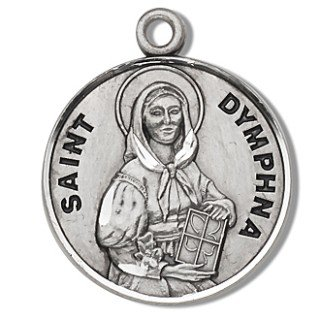 """St. Dymphna - Sterling Silver Medal (18"""" Chain)"""