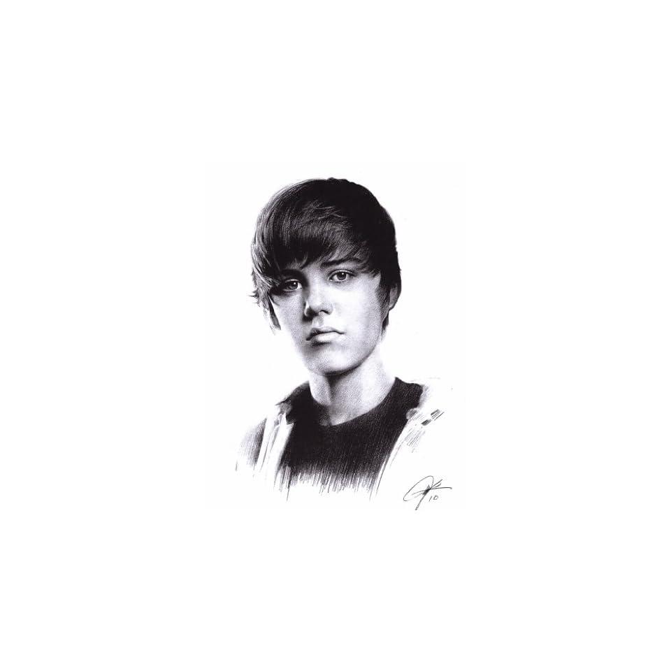 Justin Bieber Sketch Portrait Charcoal Graphite Pencil Drawing