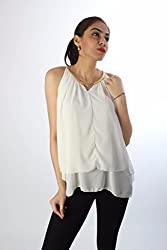 White Georgette Chain Top