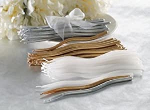 TAG White Wedding / Anniversary / Birthday Party Cake Candles, Set of 24, Wavy mini taper Style