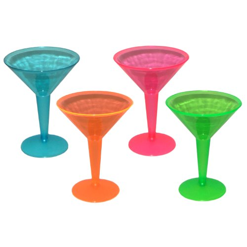 Party Essentials Hard Plastic Two Piece 8-Ounce Martini Glasses, Assorted Neon, 12 Count - 1