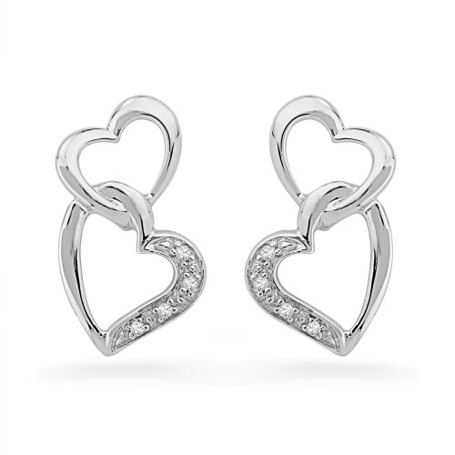 Sterling Silver Round Diamond Double Heart Earring (0.03 CTTW)