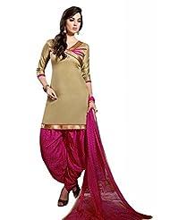 Beige Cotton Floral Print Salwar Kameez Dress Material
