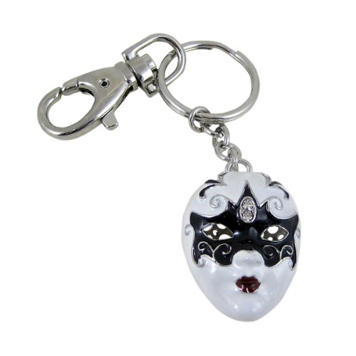 Mask Key Chain Purse Charm Mardi Gras Black and White