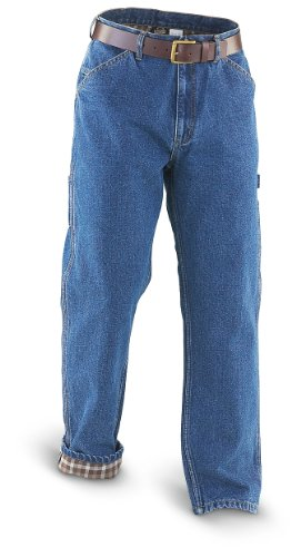 32″ Inseam Guide Gear Flannel – lined Carpenter Jeans Stonewash