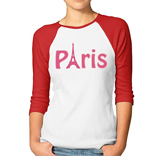 Bseball Jersey Fashion Graphic Tees Eiffel Tower Paris Women's 3/4 Sleeve T Shirt (Disneyland Tickets 2 Day Pass compare prices)