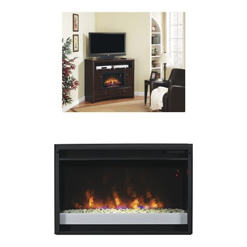 "Complete Set Delray Dual Entertainment Mantel In Roasted Walnut With 26"" Contemporary Spectrafire Plus Insert With Safer Plug"