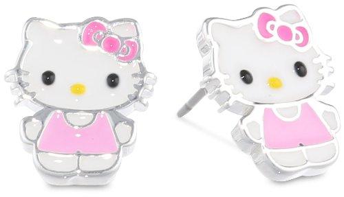 Hello-Kitty-Fine-Silver-Plated-Enamel-Stud-Earrings