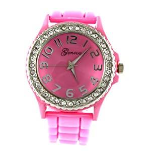 HOT Geneva Baby Pink Ceramic Look Silicone Fashion Watch with Crystal Accents ~ As Seen on The Blind Side Movie