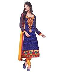 Trendz Apparels Blue 60 Gm Georgette Straight Fit Salwar Suit - B011KPF1KW
