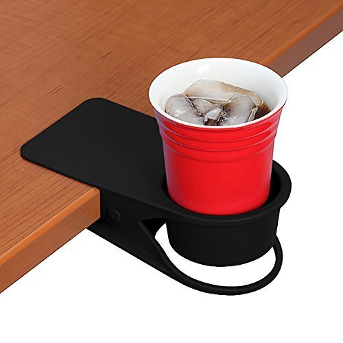 Drinking Cup Holder Clip - Home Office Table Desk Side Huge Clip Water Drink Beverage Soda Coffee Mug Holder Cup Saucer Clip Design, Black