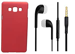 XUWAP Hard Case Cover With 3.5mm Stereo Earphones For Samsung Galaxy J5 - Red