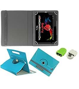 Gadget Decor (TM) PU Leather Rotating 360° Flip Case Cover With Stand For Vox V 105 + Free Robot USB On-The-Go OTG Reader - Aqua Blue
