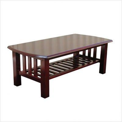 Walnut Elite Stanford Rectangular WoodTop Coffee Table with Slated Magazine Shelf