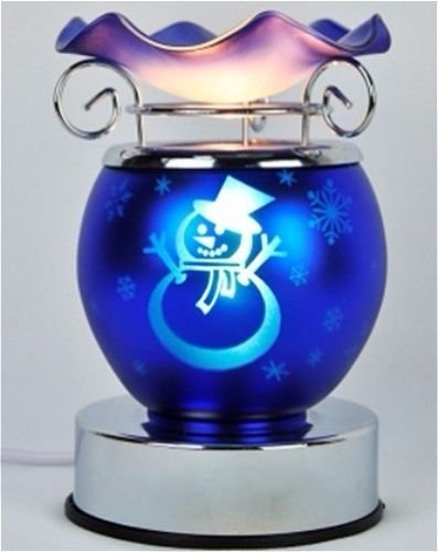 CHRISTMAS SNOWMAN DESIGN BLUE ELECTRIC TART BURNER AROMA LAMP OIL WARMER WITH TOUCH CONTROL DIMMER SWITCH 5.5
